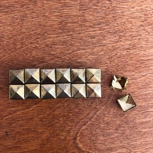 Gold square studs for clothing
